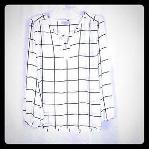 LOFT White Black Windowpane Check Tunic L